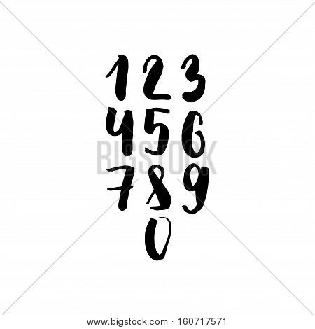 Numbers Set In Hand Drawn Calligraphy Style. Vector Design Template Elements.