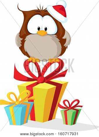 cute owl with santas hat sitting on christmas gift - vector illustration
