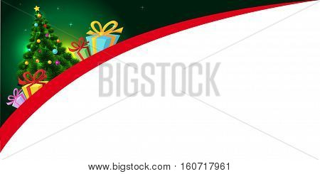 xmas design with xmas tree and gift - vector banner illustration