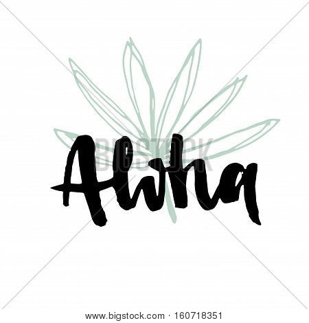 Aloha. Hand Lettering Vector Illustration.