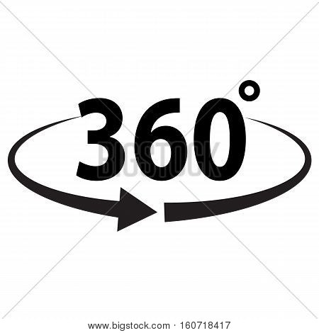 Angle 360 degrees sign icon. Angle 360 degrees sign.