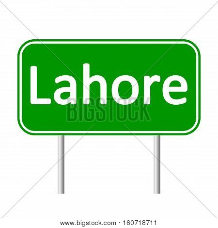 Lahore road sign isolated on white background.