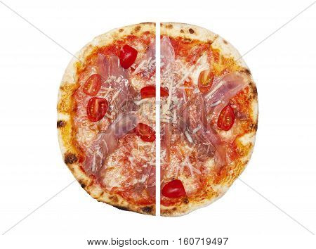 Two pieces of pizza isolated on the white background