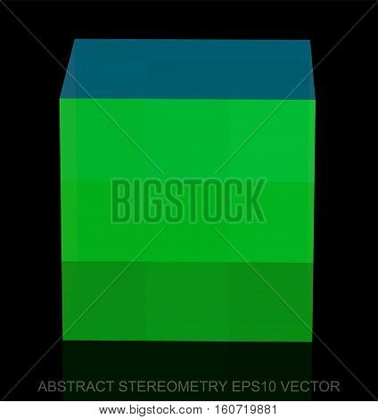 Abstract stereometry: low poly Green Cube. 3D polygonal object, EPS 10, vector illustration.