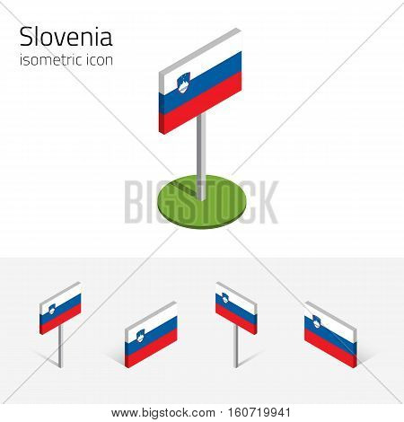 Slovene flag (Republic of Slovenia) vector set of isometric flat icons 3D style different views. 100% editable design elements for banner website presentation infographic poster map. Eps 10