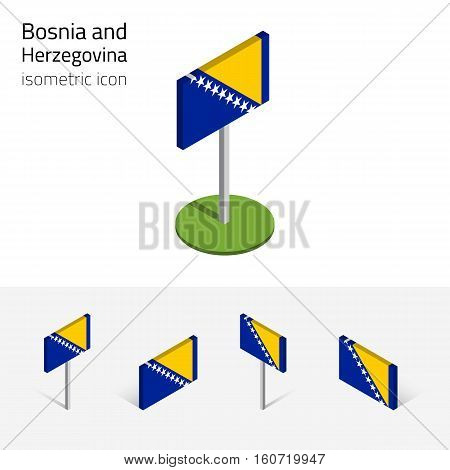 Bosnia and Herzegovina flag (BIH) vector set of isometric flat icons 3D style different views. 100% editable design elements for banner website presentation infographic poster map. Eps 10