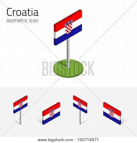 Croatian flag (Republic of Croatia) vector set of isometric flat icons 3D style different views. Editable design elements for banner website presentation infographic poster map. Eps 10