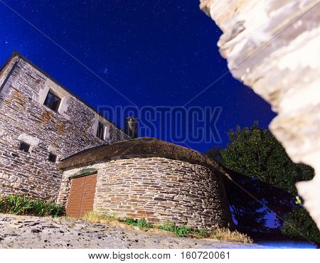 Nightview of the palloza also known as pallouza or pallaza is a traditional dwelling of Cebreiro and also the Serra dos Ancares of northwest Spain
