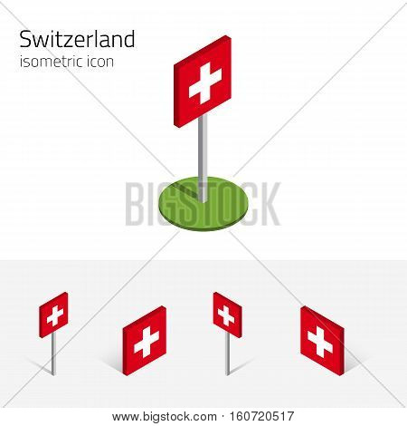 Switzerland flag (Swiss Confederation) vector set of isometric flat icons 3D style different views. Editable design elements for banner website presentation infographic poster map. Eps 10