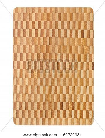 a bamboo cutting board on a white background /top view