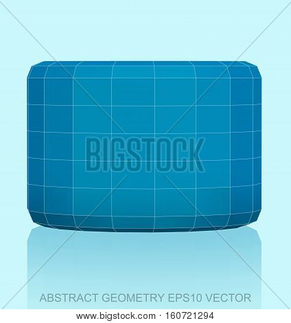 Abstract stereometry: low poly Blue Cylinder. 3D polygonal object, EPS 10, vector illustration.