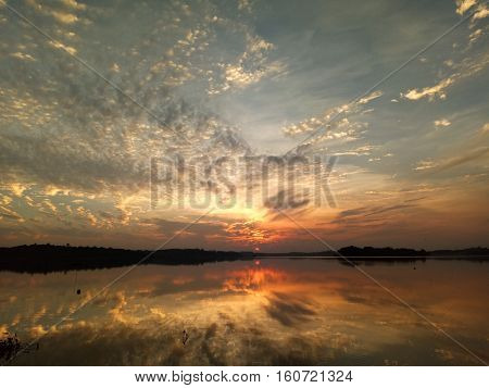 Landscape sunset lake reflexion nice beautiful background nature view