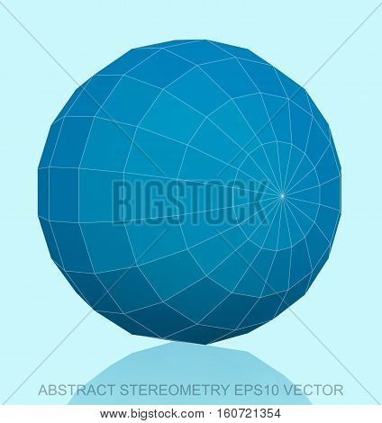 Abstract stereometry: low poly Blue Sphere. 3D polygonal object, EPS 10, vector illustration.