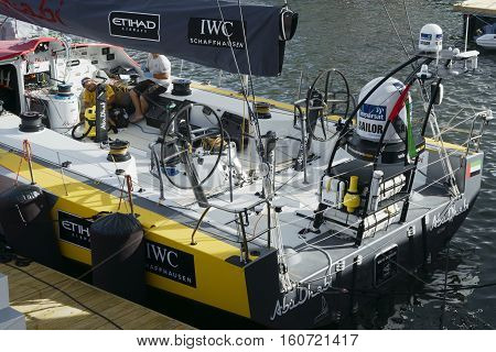 Abu Dhabi's own boat Azzam  in Cape Town. November 15, 2014 - Cape Town, South Africa, Abu Dhabi Ocean Racing