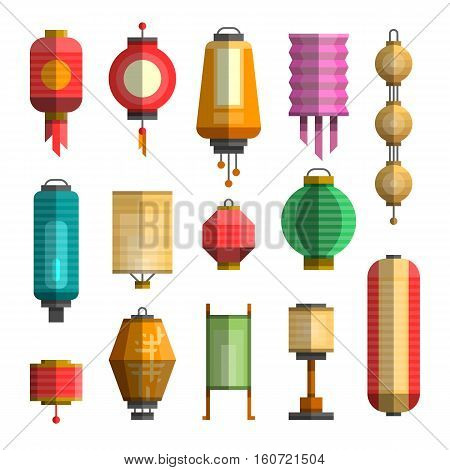 Modern colorful flat vector illustration with different china lanterns. China holiday festival paper lantern. Elements for your design web posters banners advertising.