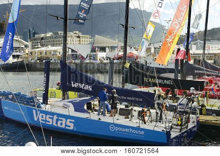 View of the racing boats taking part in Volvo Ocean Race 2014-2015 with front view of the Vestas boat. November 15, 2014 - Cape Town, South Africa, Abu Dhabi Ocean Racing