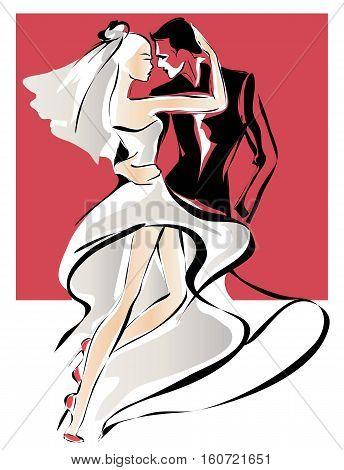 Dancing Wedding Couple, Bride And Groom Sketch Invitation Vector Illustration