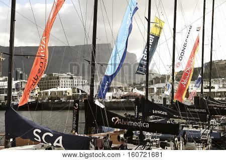 Volvo Ocean Race Sailing Fleet in Cape Town. November 15, 2014 - Cape Town, South Africa, Abu Dhabi Ocean Racing
