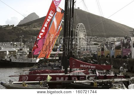 Volvo Ocean Race Sailing Fleet in Cape Town, Dhabi Ocean Racing. November 15, 2014 - Cape Town, South Africa