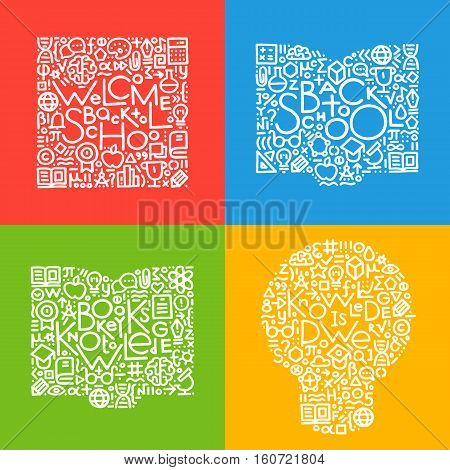 Set of modern hand drawn vector illustrations with text and different education and science symbols include book brain flask. Education and school elements for your design web poster banner.