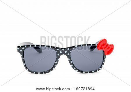 sun  eyeglass, black frame, polka dots,isolated on white background