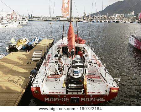 The Spanish Boat Mapfre in Cape Town, South Africa. November 15, 2014 - Cape Town, South Africa, Abu Dhabi Ocean Racing