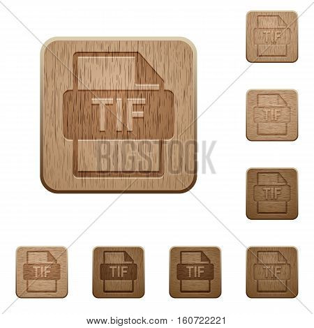 TIF file format icons in carved wooden button styles