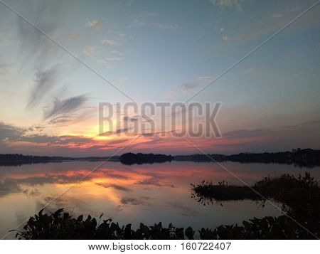 Twilight beautiful sunset landscape nice view natural lake reflexion sky cloud