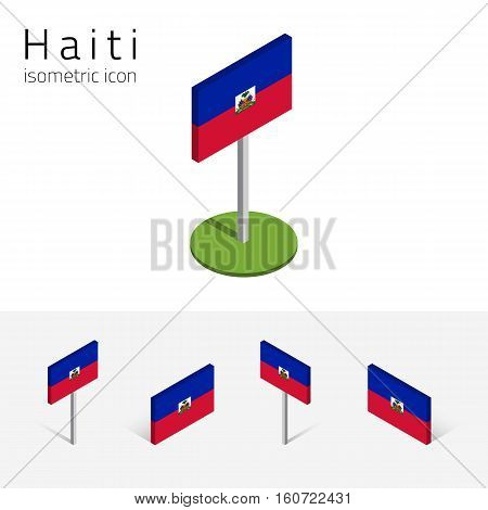 Haitian flag (Republic of Haiti) vector set of isometric flat icons 3D style different views. Editable design elements for banner website presentation infographic poster map collage. Eps 10