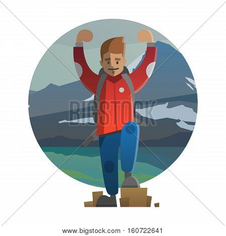 Vector illustration on the theme of hiking backpacking climbing traveling trekking walking. Man on the mountain. Adventure in nature outdoor recreation vacation. For postcard banner web.