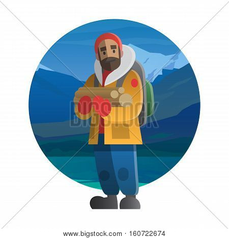 Vector illustration on the theme of hiking backpacking climbing traveling trekking walking. Man with wood logs. Winter adventure in nature outdoor recreation vacation. For postcard banner web