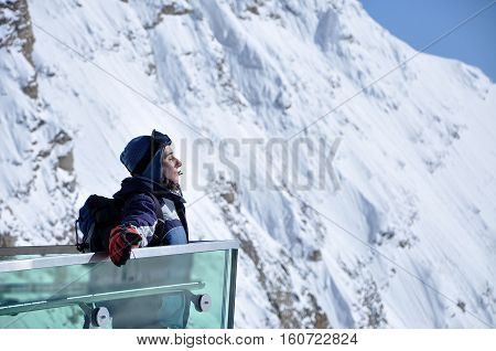 Skier Woman Enjoying Sunshine In The Outdoors