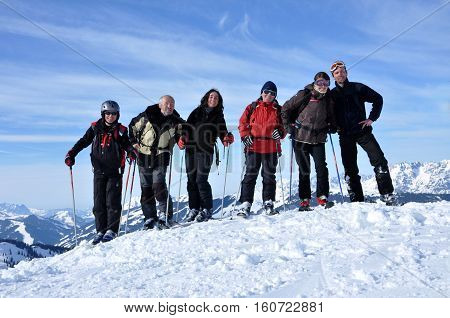 Friend Skiers Making A Group Selfie Photo On The Piste