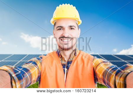 Confident Engineer Taking A Self Portrait