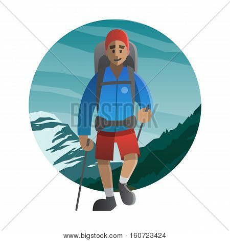 Vector illustration on the theme of hiking backpacking climbing traveling trekking walking. Happy man walking. Adventure in nature outdoor recreation vacation. For postcard banner web.