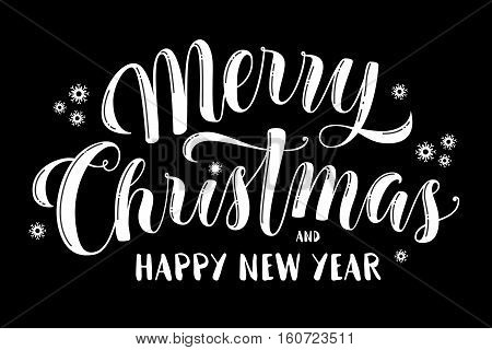 Merry Christmas and Happy New Year text, calligraphic vector illustration, white over black background. Merry Christmas and Happy New Year lettering, greeting text, design element