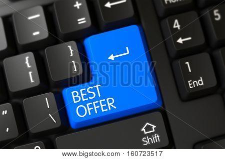 Best Offer Written on a Large Blue Keypad of a Modernized Keyboard. 3D Render.