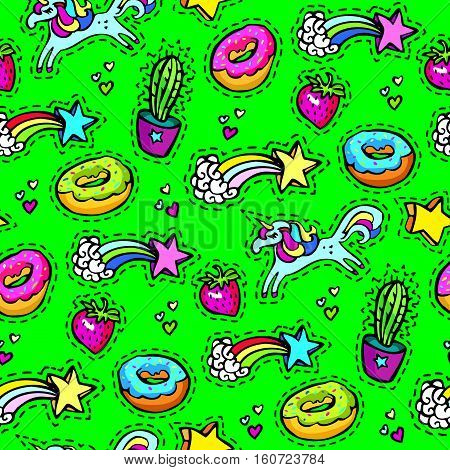 Seamleaaa pattern with decorative fashion patch badges of colorful girls elements. Green background. Girl patches in comic cartoon 80-90 style. Vector illustration stock vector.