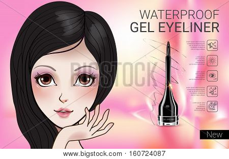 Gel Eyeliner ads. Vector Illustration with Manga style girl and gel eyeliner container.