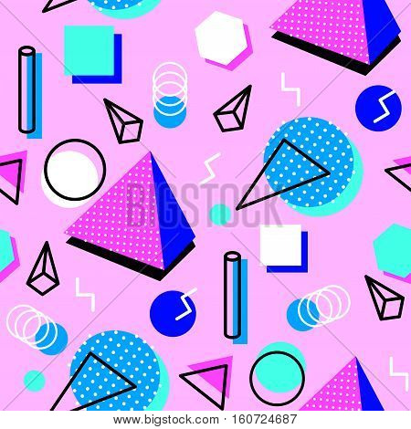 Memphis pink seamless pattern of geometric shapes. Abstract 1980-90 styles design. Trendy memphis style. Colorful geometric hipster poster background. illustration stock .