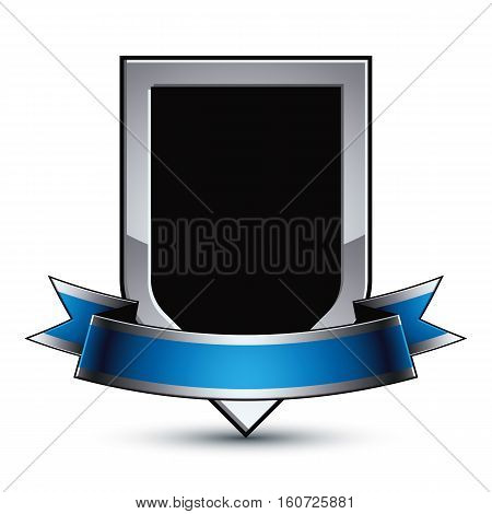 Black Elegant Vector Protection Shield With Silver Outline And Wavy Blue Ribbon, 3D Sophisticated Gr
