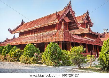 Myanmar, one of houses of Mandalay Royal Palace in Mandalay city.