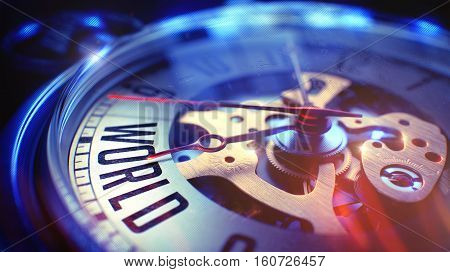 Watch Face with World Inscription on it. Business Concept with Film Effect. Vintage Watch Face with World Wording, Close View of Watch Mechanism. Business Concept. Lens Flare Effect. 3D Render.