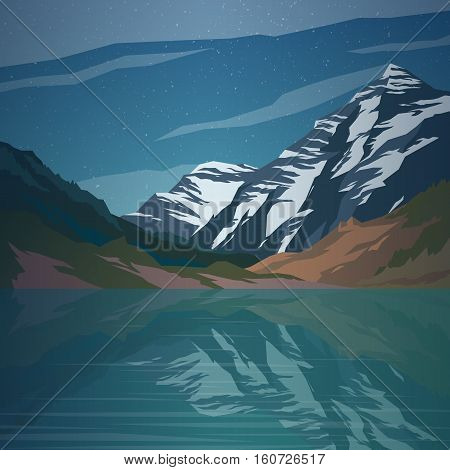 High mountains and calm lake water landscape. Clear sky and stars. Spectacular view. Poster or web banner. Modern flat realistic design. Vector illustration.
