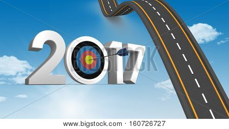 Darts target as 2017 against composite image 3D of bumpy road in blue sky