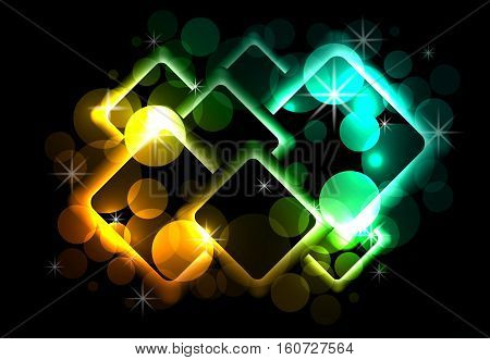 Abstract background with circles sparks rhombus on dark background.
