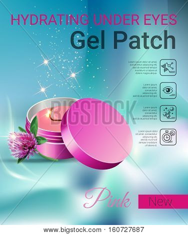 Hydrating Under Eye Gel Patches ads. Vector Illustration with eye gel patches container.