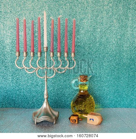 Traditional symbols for Hanukkah holiday. Selective focus. Image toned for inspiration of retro style