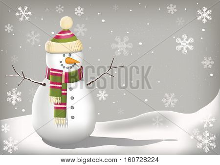 Cute snowman character in a wintery background with snowflakes.