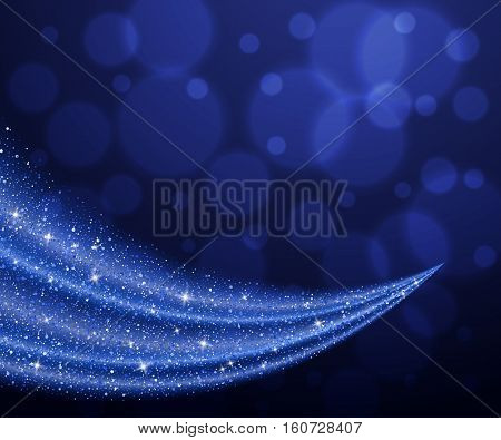 Vector blue glitter wave abstract background, blue sparkles on night magic background, vip design template